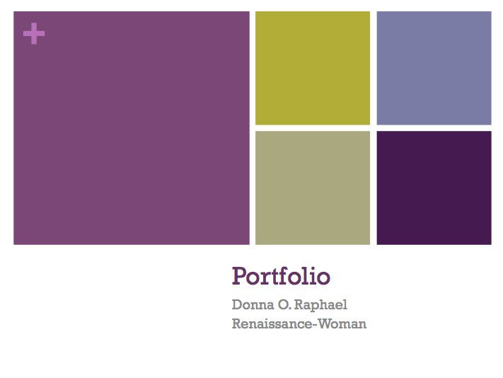 Career Portfolio Cover | Donna Raphael